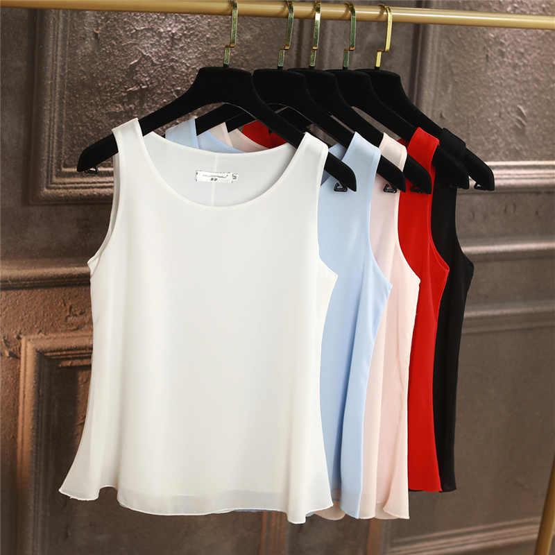 100% 원래 yuanyu 새로운 도착 민소매 캐주얼 블라우스 고품질 쉬폰 셔츠 느슨한 플러스 크기 6xl o-넥 여성용 블라우스