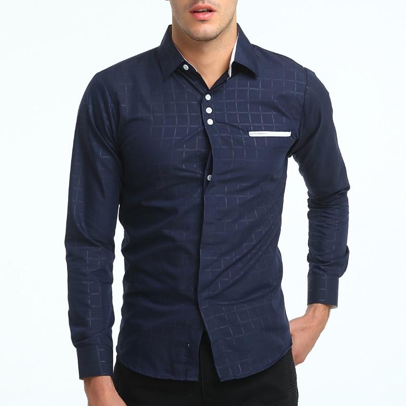 Brand 2018 Fashion Male Shirt Long-Sleeves Tops Simple Plaid Printing Shirt Mens Dress Shirts Slim Men Shirt XXXL