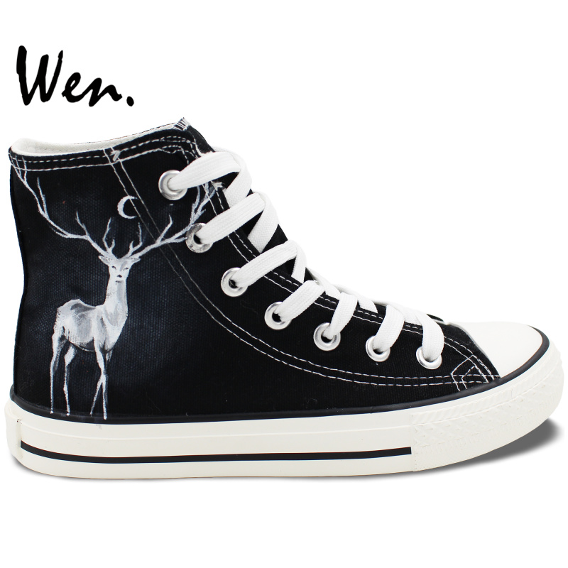 Wen Hand Painted Black Shoes Design Custom Winter Reindeer Men Women's High Top Canvas Sneakers for Christmas Gifts wen customed hand painted shoes canvas the beatles high top women men s sneakers black daily trip shoes special christmas gifts