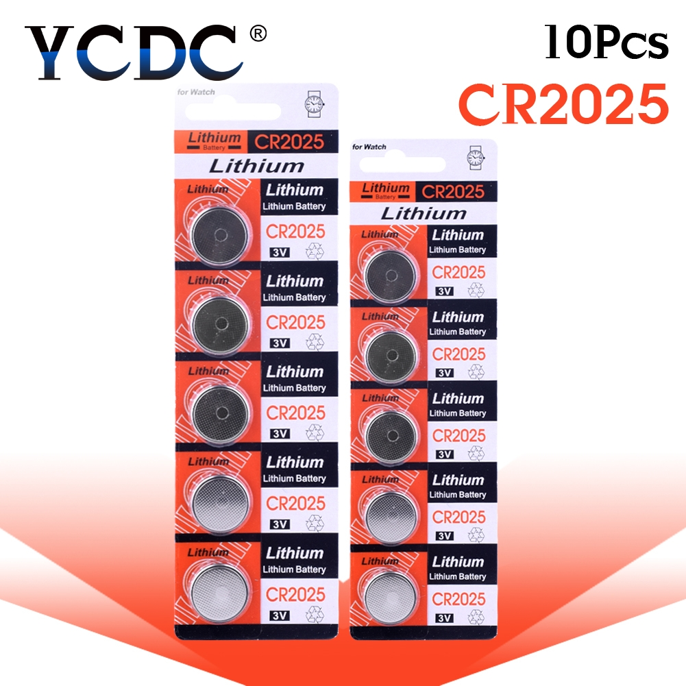10pcs/pack CR2025 Lithium Button Battery DL2025 BR2025 KCR2025 Cell Coin Batteries 3V CR 2025 For Watch Electronic Toy Remote 10pcs ag7 lr927 lr57 sr927w 399 gr927 395a 1 55v button cell coin battery batteries for watch toys remotes