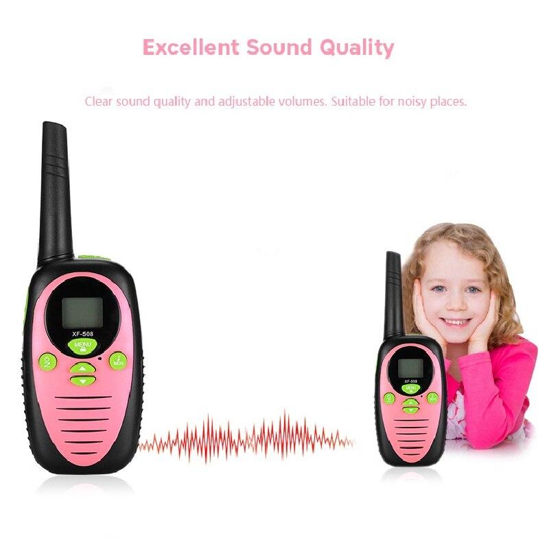 XF-508 2pcs Electrical Safety Children Toy Walkie Talkies 2-Way Radio 8 Channels 3KM Range Belt Clip With Adjustable Volume