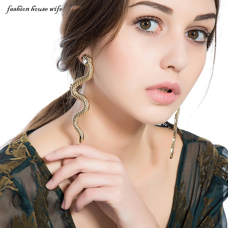 Punk Snake Drop Earrings For Women Fashion Crystal Gold Silver Color Long Statment Earring Female