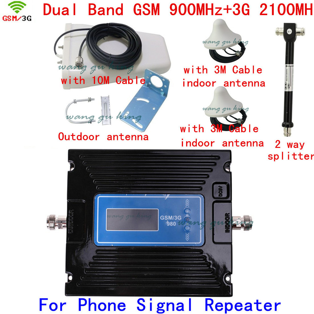 Newest LCD Display 29-60db Gain adjustable 3G W-CDMA 2100MHz + GSM 900Mhz Dual Band Mobile Phone Signal Booster Repeater 1 kitsNewest LCD Display 29-60db Gain adjustable 3G W-CDMA 2100MHz + GSM 900Mhz Dual Band Mobile Phone Signal Booster Repeater 1 kits