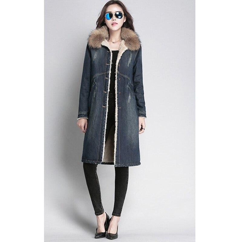 Fourrure Denim Coton Femmes Veste D'hiver Blue Longues Nouveau De En Pardessus Laine Vrai Col 2019 Manteau qGzMVpUS