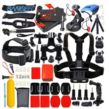 SANGER for Gopro Accessories Hard Bag 28 In1 Chest Head Basic Bundle Kit for Xiaomi Yi Gopro Hero 5 4 3+ 3 SJCAM Action Camera