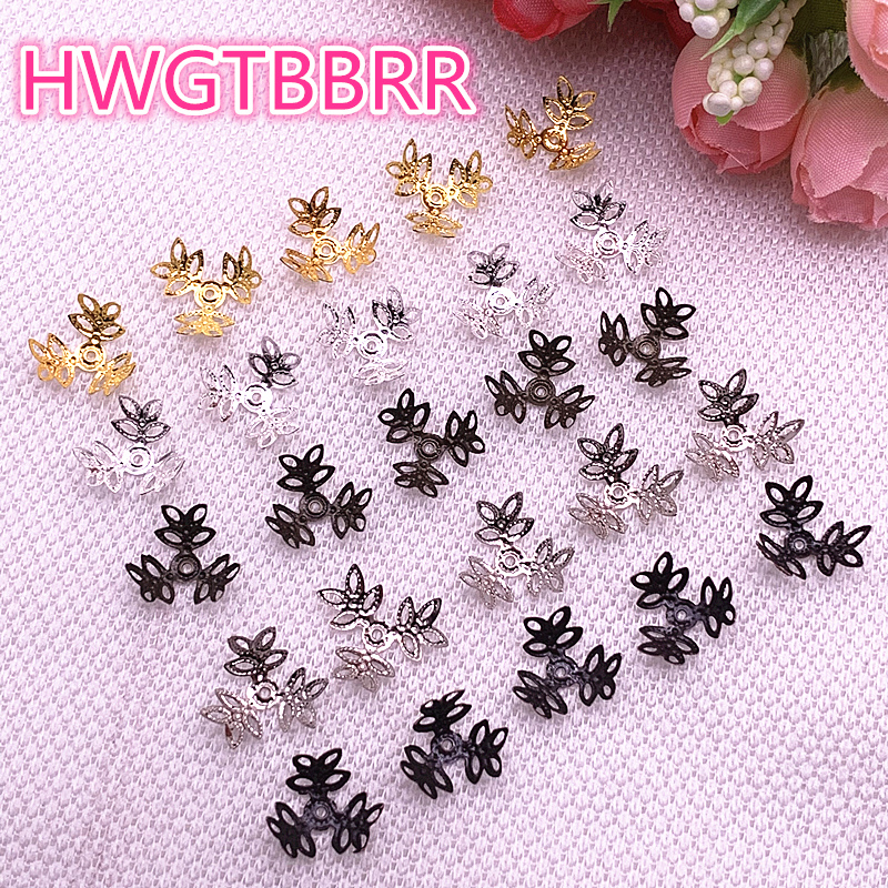 New 100pcs/lot Hollow Flower Findings Cone End Beads Cap Filigree DIY Jewelry Making