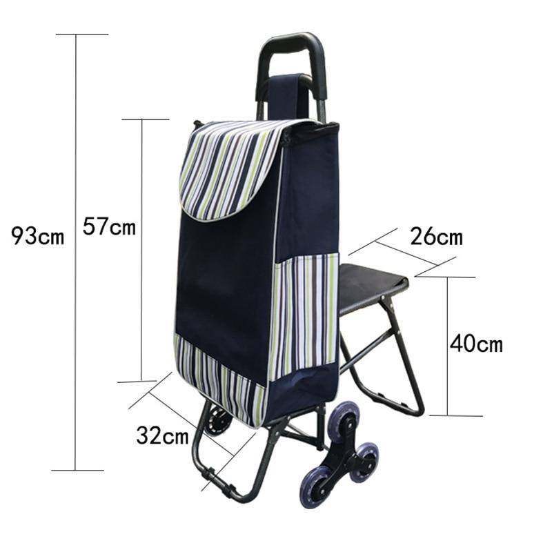 35L escalier échelle panier panier personnes âgées panier ménage sacs chariot Portable chariot pliable trois roues chariot
