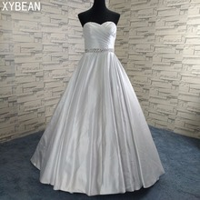 Фотография Cheap Price ! 2018 New Free Shipping Beading Sashes A line With Train White / Ivory Wedding Dresses