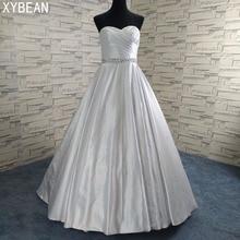 Harga murah ! 2018 Pengiriman Gratis Baru Beading Sashes A line Dengan Kereta Putih / Wedding Dresses Gading