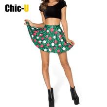 chicu women skirt cotton blend 3d print rose forest skirt girl shorts women