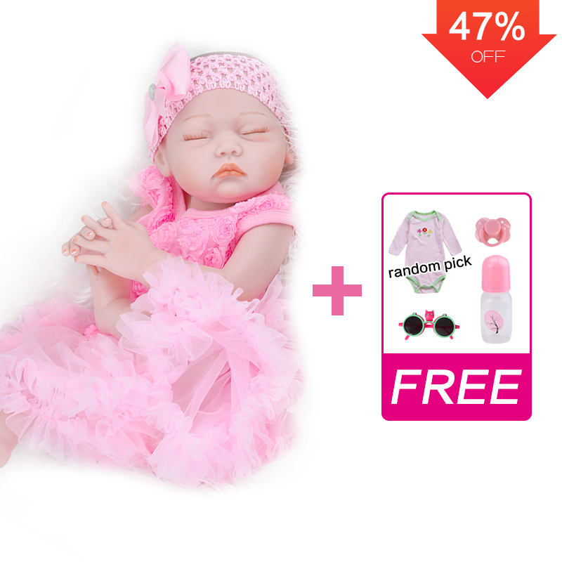 UCanaan 20 Inch Reborn Baby Girl Dolls Lifelike Full Body Silicone Realistic Newborn Babies Handmade Toddler