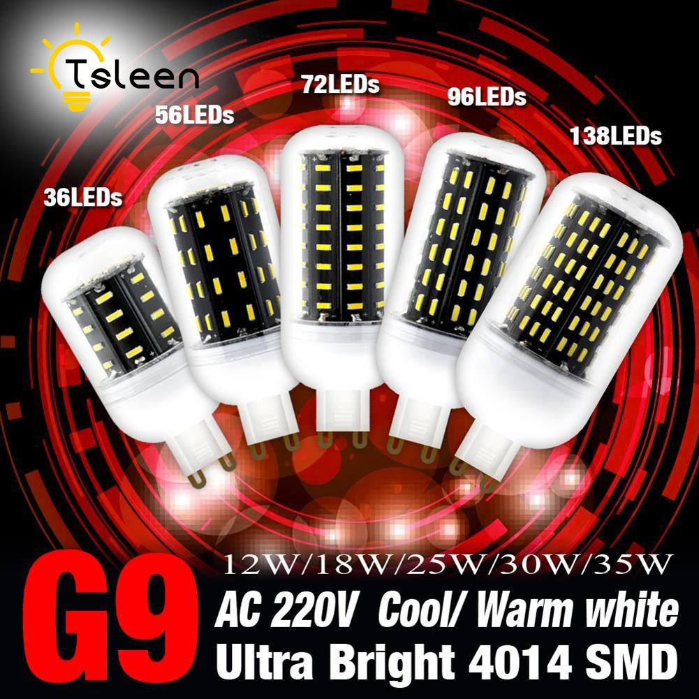 TSLEEN 1PC G9 4014 SMD LED Corn lamp Bulb light 220V 12W 18W 25W 30W 35W Led Light Bulb Cold White 360 Degrees No Flicker