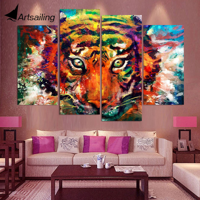 4 panel canvas art canvas painting coloured painting tiger hd