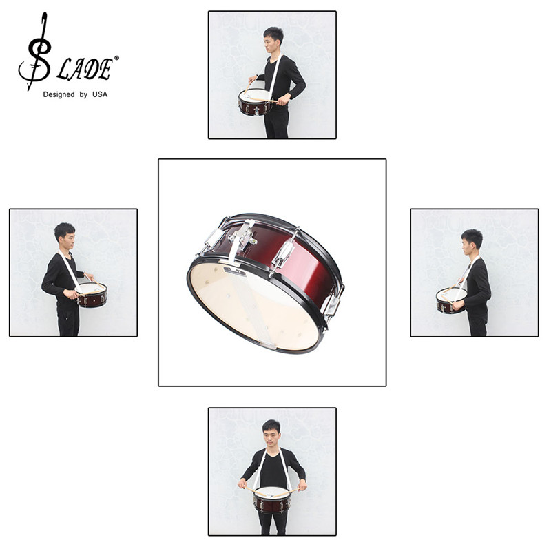 High Quality 14 inch Snare Drum head Professional Snare Drum Head with Drumstick Drum Wrench Strap for Student Band 14 inch double tone afanti music snare drum sna 109 14 page 7