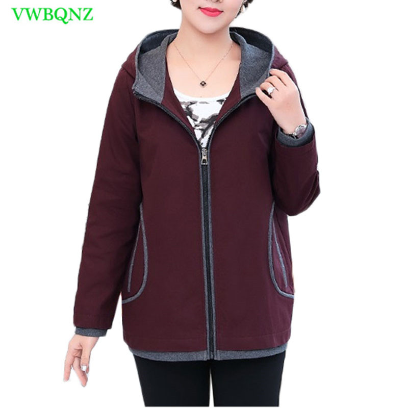 New Plus size Windbreaker Coat Women Spring Loose Long sleeve   Trench   Coats Women's Fashion Red wine Hooded Outerwear 4XL A373