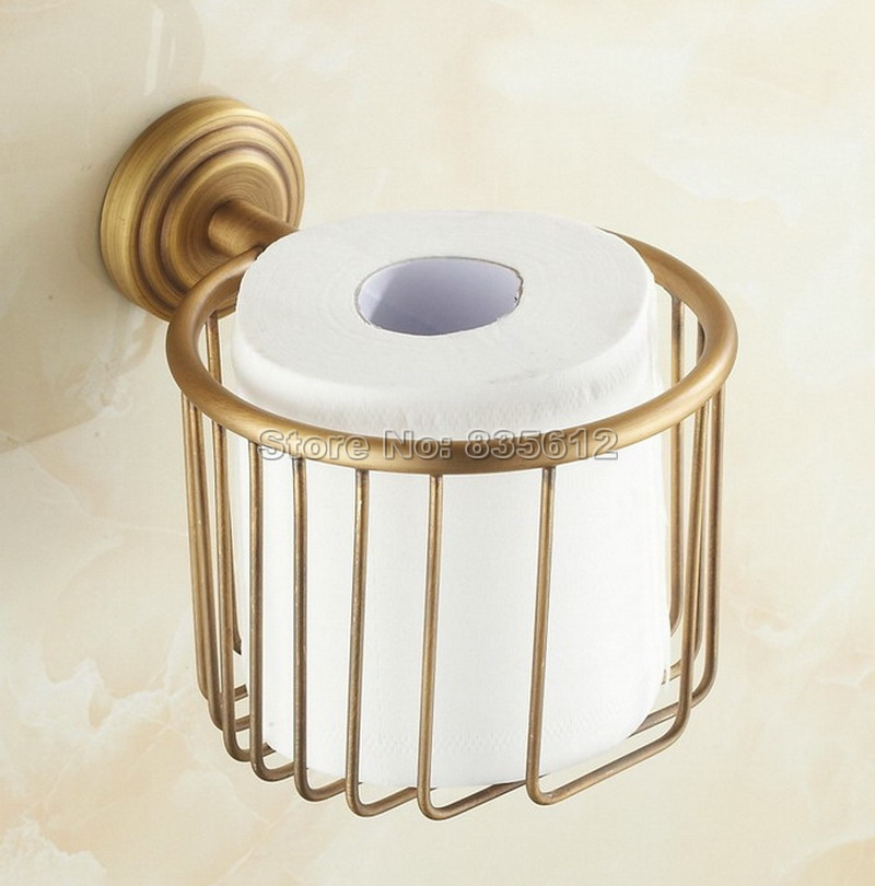 ФОТО Antique Brass Bathroom Toilet Paper Roll Holder Basket  Bathroom Fitting Wba073