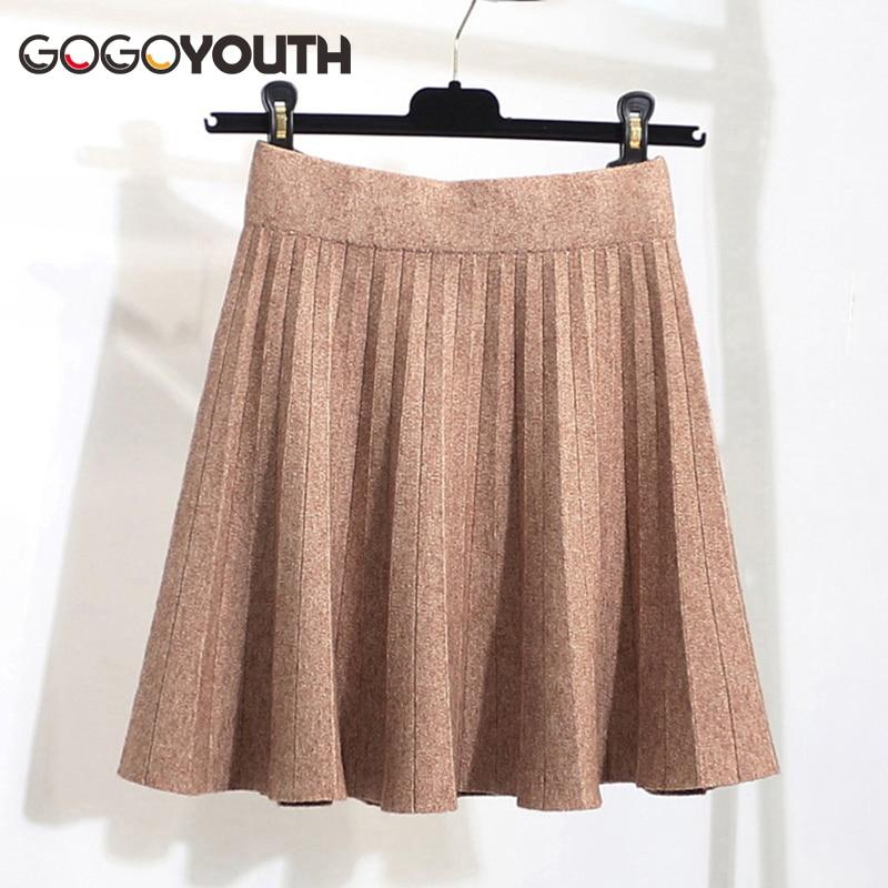 Gogoyouth Knitted Pleated Women Skirts Women 2019 Autumn Winter Casual Elastic High Waist Skirt Female Korean Mini A Line Skirt