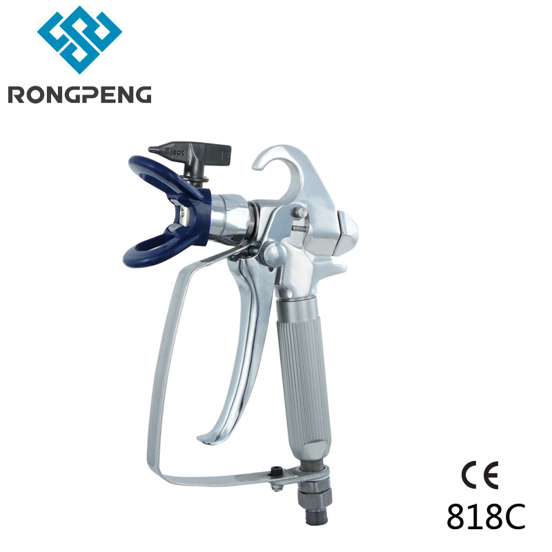Rongpeng High Pressure Airless Spray Gun 818C With 517 Tip and Tip Guard For Airless Paint Sprayer Machine hot sale 2 finger triggers spray gun with rac x 517 or 519 tip and rac tip guard for high pressure airless spray guns
