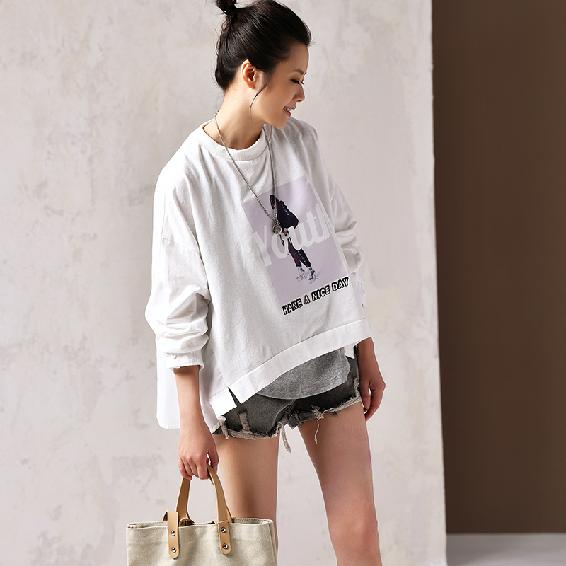 U5270 A loose short hoodie with a large artistic cotton print top
