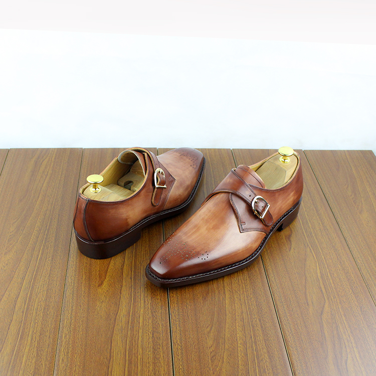 Micholediys Handmade Goodyear Custom-made Munch Bullock England Monks - Zapatos de hombre - foto 3