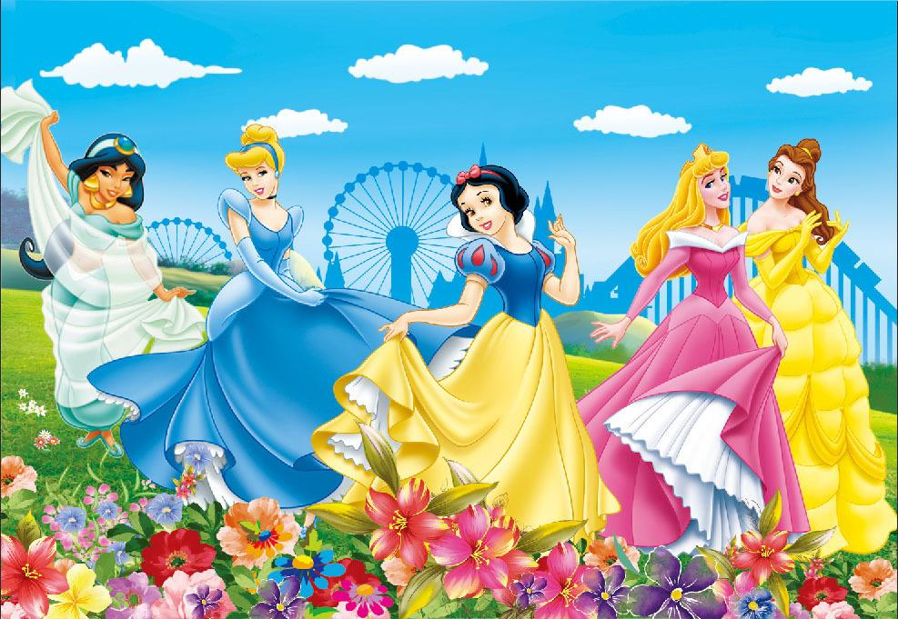 sky clouds Snow White Ariel Aurora Fairy Princess Ferris Wheel Flowers Garden Vinyl cloth Computer printed wall backdrop