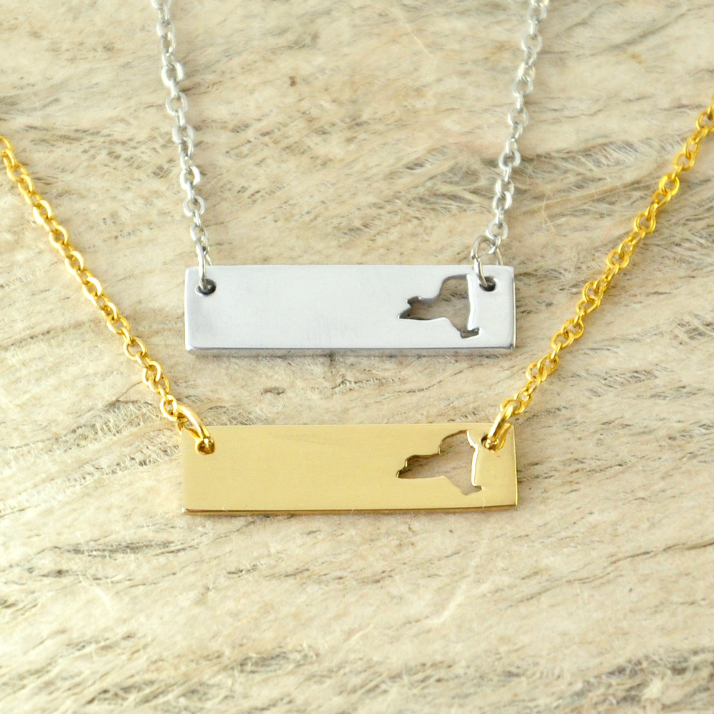 New York Necklace Cut Out Map Necklace Alloy State Necklace Map Charm Custom Map State Pride Bar Necklace ...