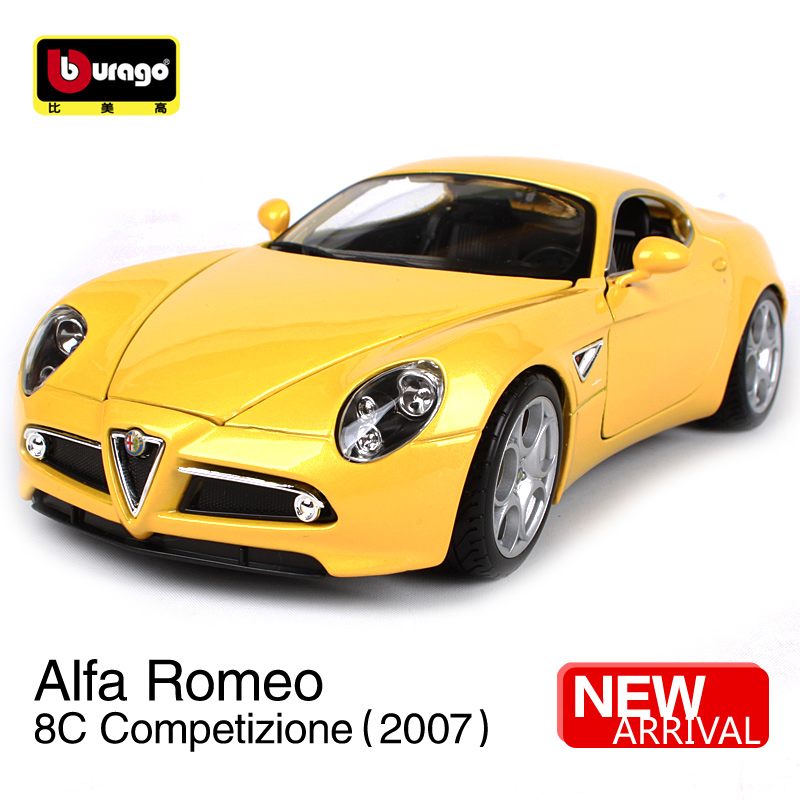 Maisto Buurago 1:18 2007 Alfa Romeo 8C Competizione Sports Car Diecast Model Car Toy New In Box Free Shipping NEW ARRIVAL 12077 mercedes benz sls 1 18 maisto amg gt car model alloy diecast boy gift collection sports car fast