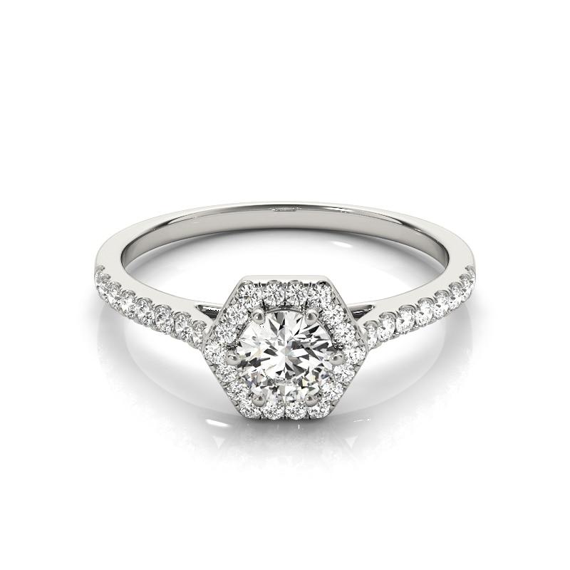 COLORFISH Fashion 1/4 ct Halo Engagement Rings For Women Genuine 925 Sterling Silver Fashion Sona Jewelry Hexagon Wedding Ring
