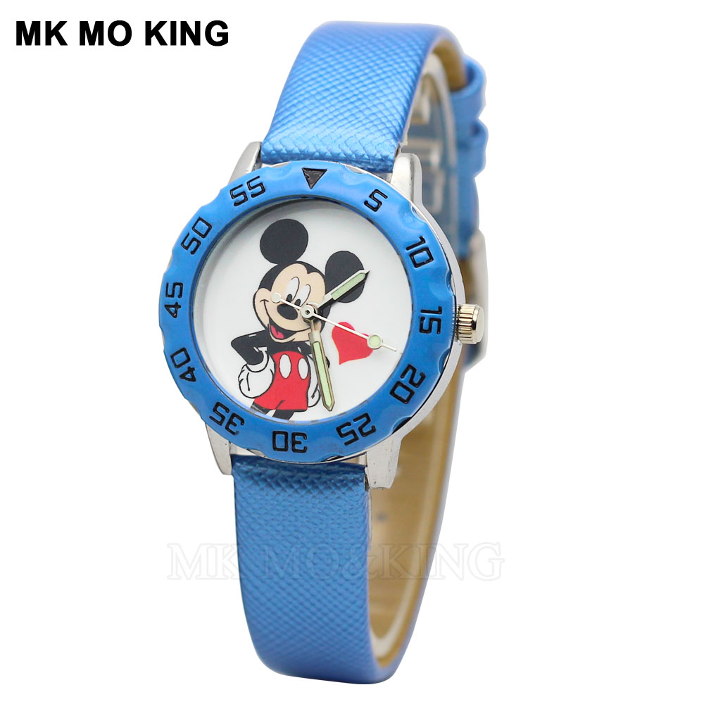 Children's Watch Fashion Cartoon Mickey Kids Girls Boys Children Students Quartz Clock Casual Leather Pink Minnie Mouse Watch