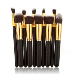Image 4 - Nieuwe Komen 10 stks Synthetische Kabuki Make Up Borstel Set Cosmetics Foundation mengen blush make up tool