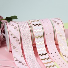 7/8 22mm gold foil gold/white diamond pink/aqua grosgrain ribbon gift packing deco 10 yards/roll webbing diy supplies
