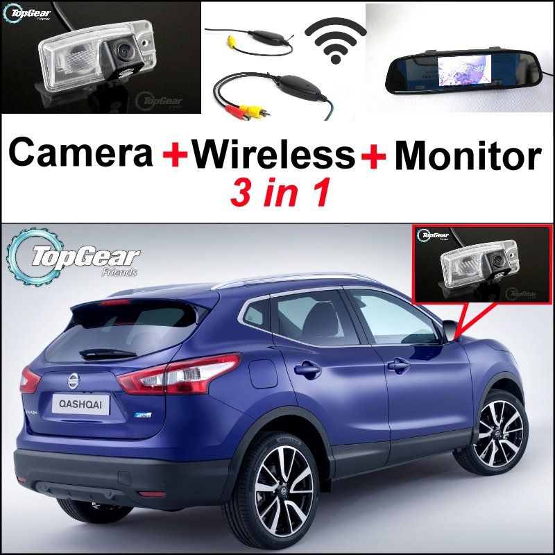 3 In1 Special Rear View Camera + Wireless Receiver + Mirror Monitor Easy Parking System For Nissan Qashqai J11 Dualis 2012~2015