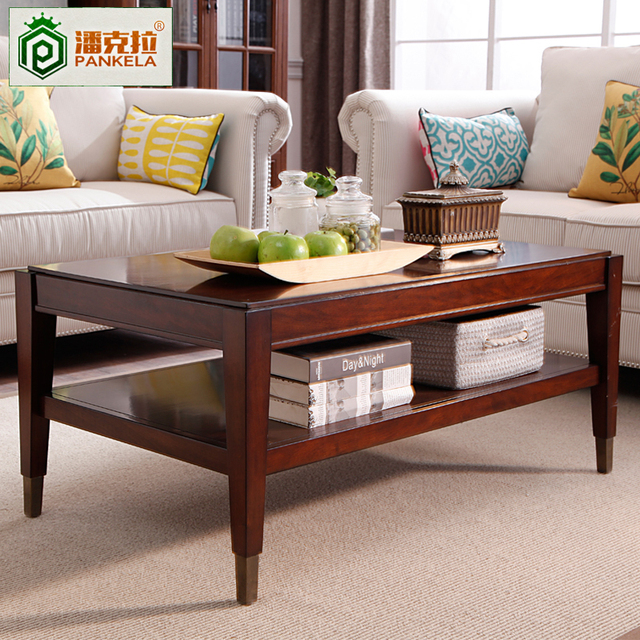537cf506c863e American country living room coffee table end table simple wood small  apartment retro teasideend