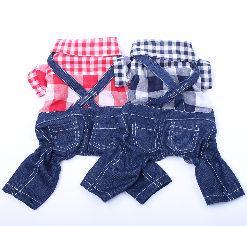 New Pet Dog Plaid Denim Jumpsuit Pants T-Shirt Cat Puppy Rompers Coat Jacket Spring/Summer Clothes Apparel plaid