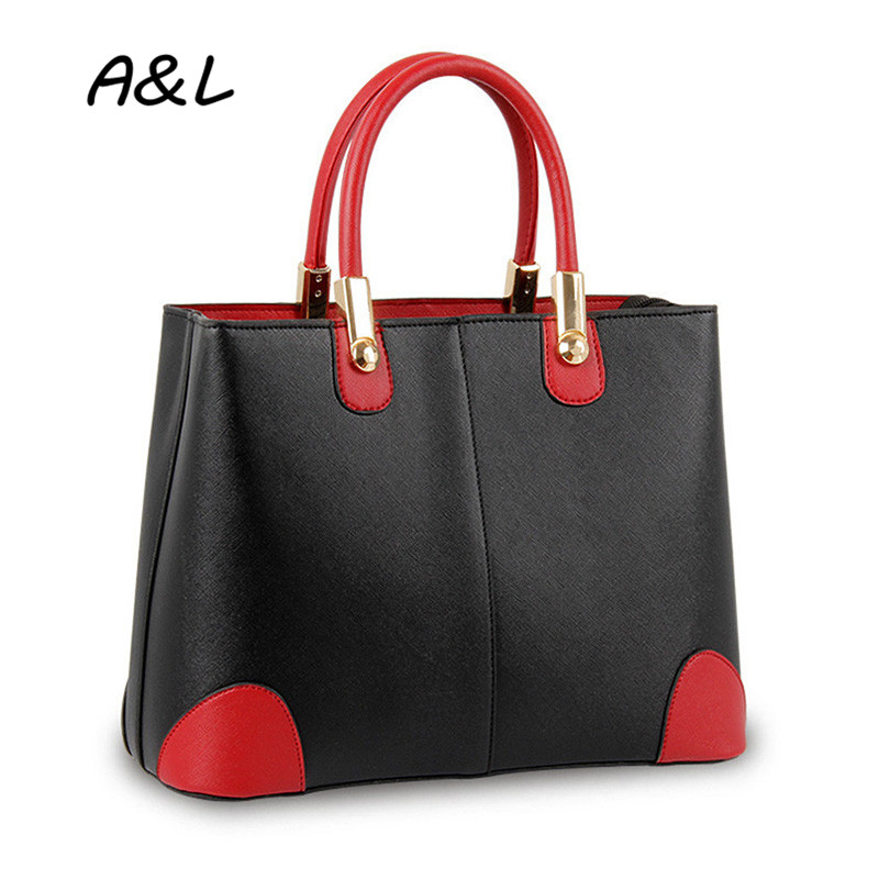 New Fashion Stitching Handbag Women Bag Lady Office Business Casual Hit Color Tote Classic PU Leather Shoulder Bag Bolsas A0010