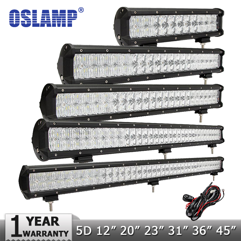 Oslamp 5D 12 20 23 31 36 45 LED Light Bar Offroad Combo Beam Led Bar Work Light Driving Lamp 12v 24v Truck SUV 4X4 4WD ATV oslamp 5d 32 led light bar 300w cree chips offroad led work light bar combo beam 12v 24v truck suv atv 4x4 4wd led driving lamp