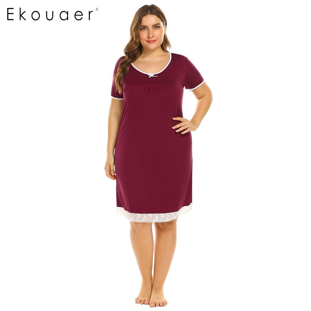 Ekouaer Chemise   Sleepshirts   Oversize Sleep Dress Women Nightwear Short Sleeve Lace Trim O-Neck   Nightgown   Plus Size 5XL