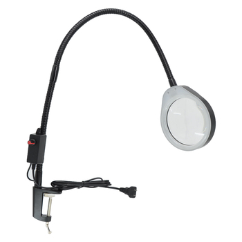 10X LED Magnifier Light Long Arm With Table Clamp Adjustable Industrial Clamp for Desk, Table, Craft or Work Bench, Black