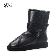 Top Quality New Genuine Sheepskin Leather Snow Boots 100% Natural Wool Inside Real Fur Waterpoof Mujer Botas Fashion Women Shoes