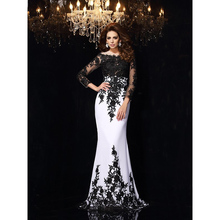 Elegant Evening Dresses Black and White Trumpet / Mermaid Sc