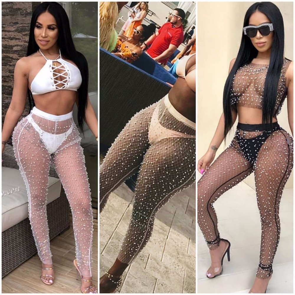 Pencil Pants Women Summer Beach All Match Sunscreen Cover Up Pants Pearl Decorated Anti-mosquito Mesh Sheer Ultra Thin Trousers