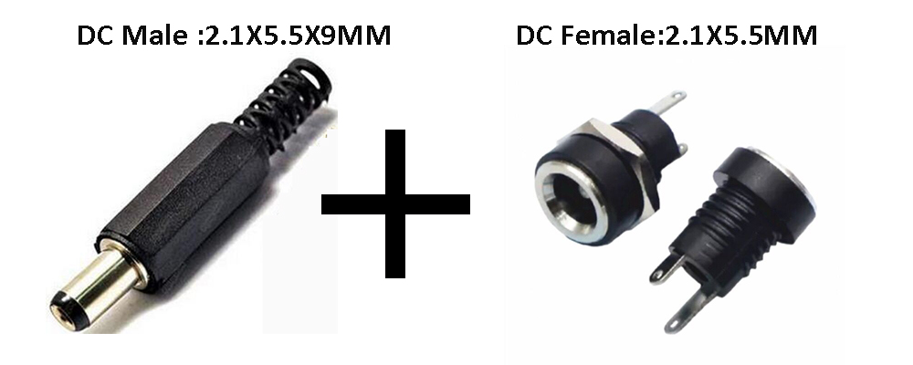 10PCS DC Power Connector pin 2.1x5.5mm Female Plug Jack + Male Plug Jack Socket Adapter DC-022A 5set 3pin female panel powercon stage light power plug and socket audio connector plug socket 20a 250v nac3fca with nac3mpa 1