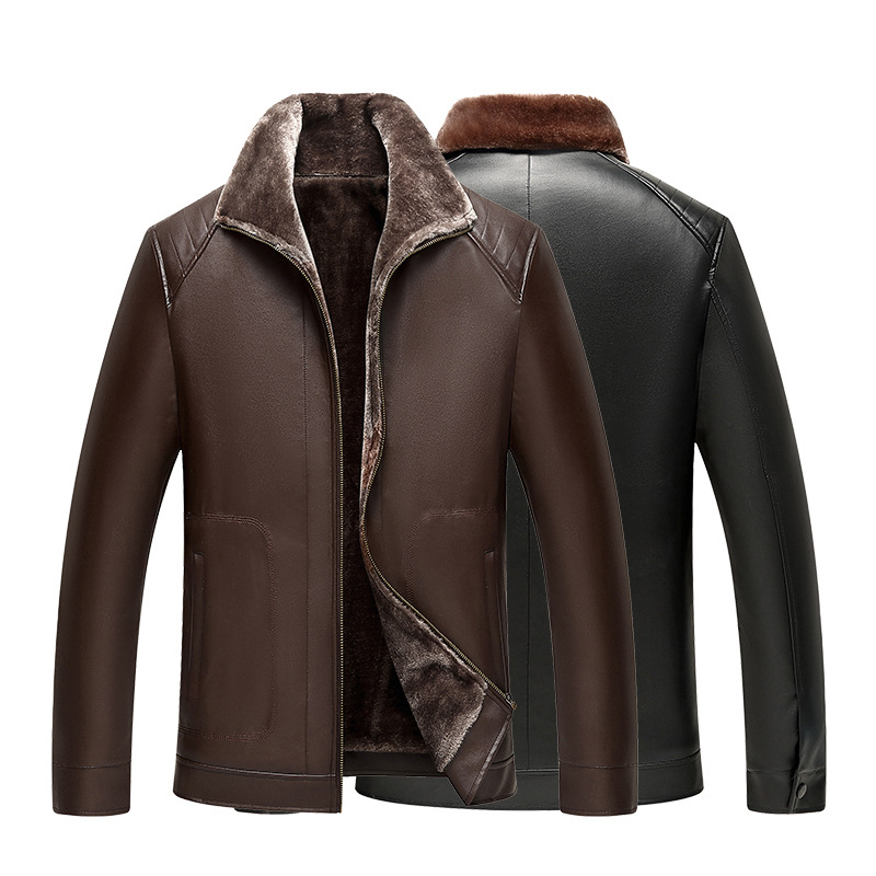 Top Mens Leather Jackets Coat Winter Faux Fur Turn down Collar Pu Leather Jackets Parka Male Jacket Slim Fur Jackets & Coats 4XL 2017 winter jacket men cotton padded thick hooded fur collar mens jackets and coats casual parka plus size 4xl coat male