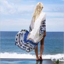Women Fashion Summer Chiffon Cardigan Shirt Sun Protection Geometric Print Long Cardigan Beach Cover Up Shirt Blouses
