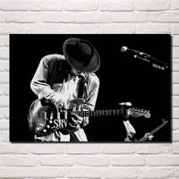 Stevie Ray Vaughan music guitar musicians blues rock monochrome living room Home art Decoration wood frame fabric Posters EX358
