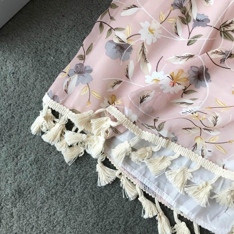 Nicemix Summer Vintage Bohemia Playsuits Women Floral Printed V-Neck High Waist Slim Holiday Beach Wide-Legged Shorts Pants Jump