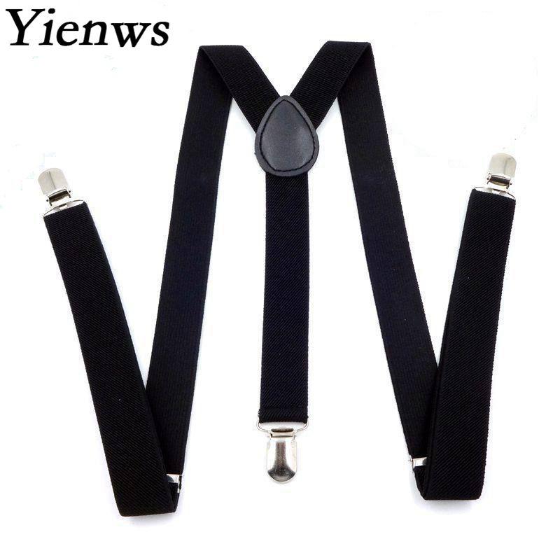 Yienws 3 Clip Suspenders for Men Solid Color Plain Pants Strap Braces Man Pink Red Female Pants Suspenders 50 Piece YiA066