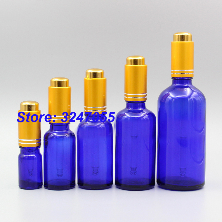 Blue Empty Glass Cosmetic Essential Oil Package, Portable Essence Refillable Bottle, 5/10/15/20/30/50/100ml Cosmetic Containers fcl wholesale 5 10 15 20 30 50 100ml empty brown glass essential oil bottle without cap