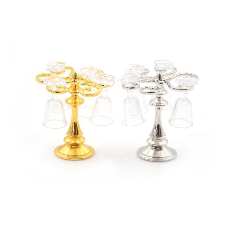 5PCS/Set 1/12 Miniature Cute Resin Metal Cup Holder With 4 Wine Glass Toys For Dollhouse Accessories