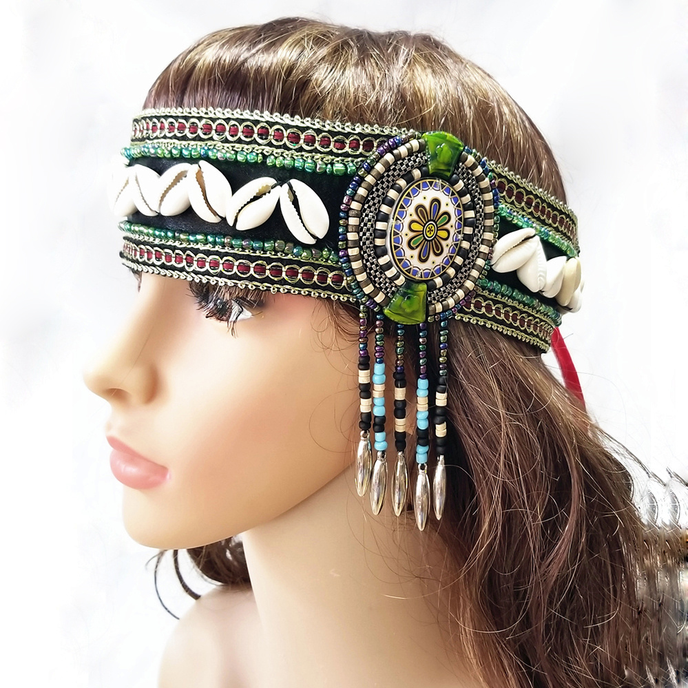 Ethnic Belly Dance Hair Accessories 3pcs Set Tribal Wristband, Armband And Headpiece Wrap Bangles Tribal Dance Bracelet